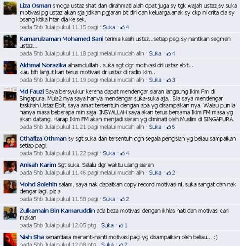 Komen Motivasi pagi IKIM.fm Jun-Julai 2012 oleh Ustaz Ebit Irawan Bin Ibrahim Lew