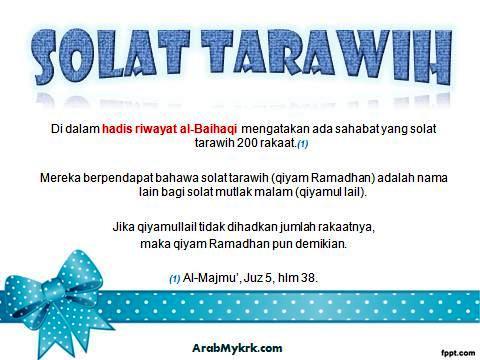 Solat Tarawih (Qiyam Ramadhan) = Solat Mutlak Malam (Qiyamullail)