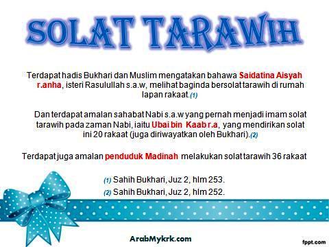 Solat Tarawih Berapa Rakaat?